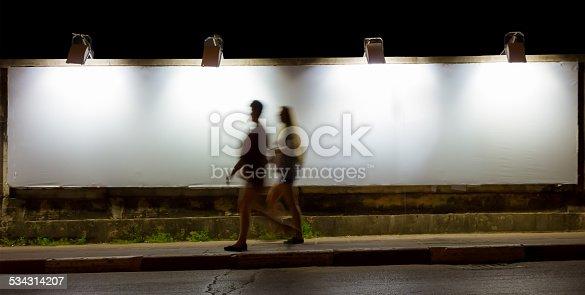 158172107 istock photo Big Empty Billboard at night in city. 534314207