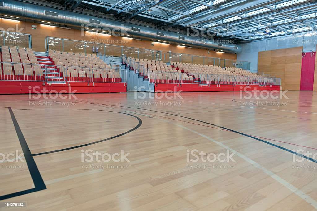 Big Empty Sports Hall with Stand royalty-free stock photo