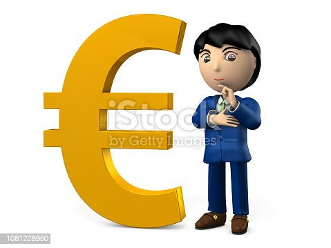 istock A big Euro sign. A young businessman is standing near by it proudly. 3D illustration 1081228950