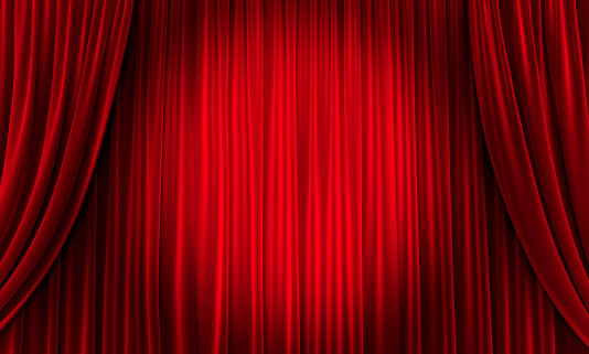 Red Curtains with two bent curtains on the sides and a spotlight circle in the middle. 3D generated.