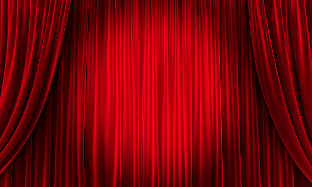 big event red curtains with spotlight - curtain stock pictures, royalty-free photos & images