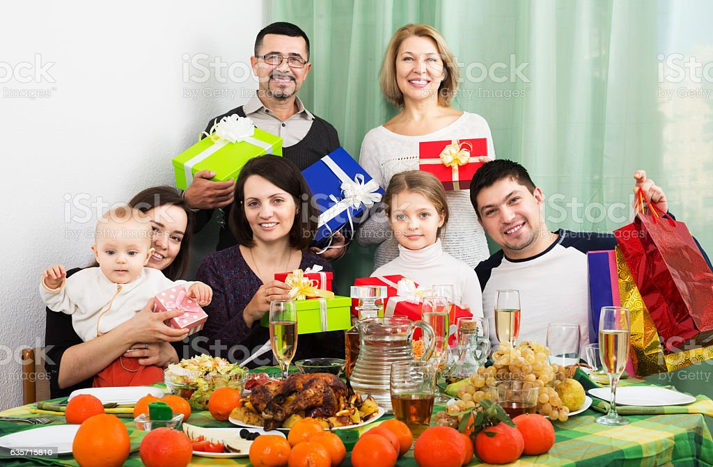 Big family at festive table royalty-free stock photo