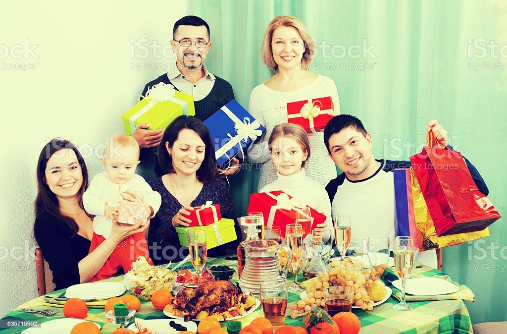 Big family at festive table royalty-free stock photo