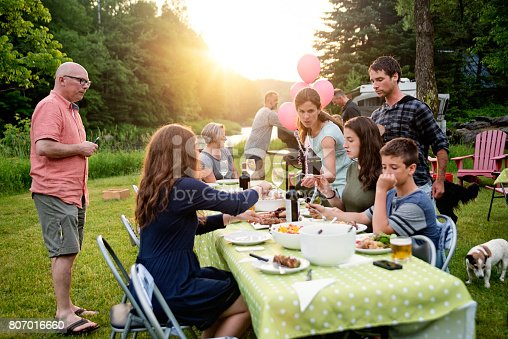 istock Big family barbecue gathering at sunset, summer outdoors. 807016660