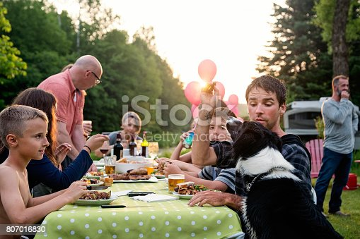 istock Big family barbecue gathering at sunset, summer outdoors. 807016830