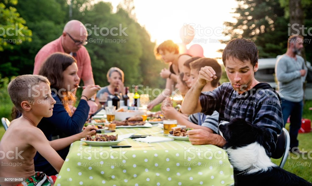 Big Family Barbecue Gathering At Sunset, Summer Outdoors. Stock Photo