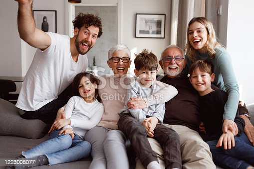 A multi-generational family is posting in front of the camera. They are sitting on the sofa in the living room.