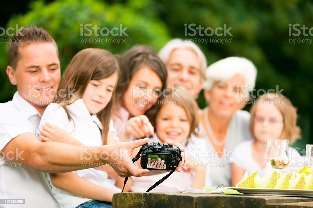 big family posing for a group shot royalty-free stock photo