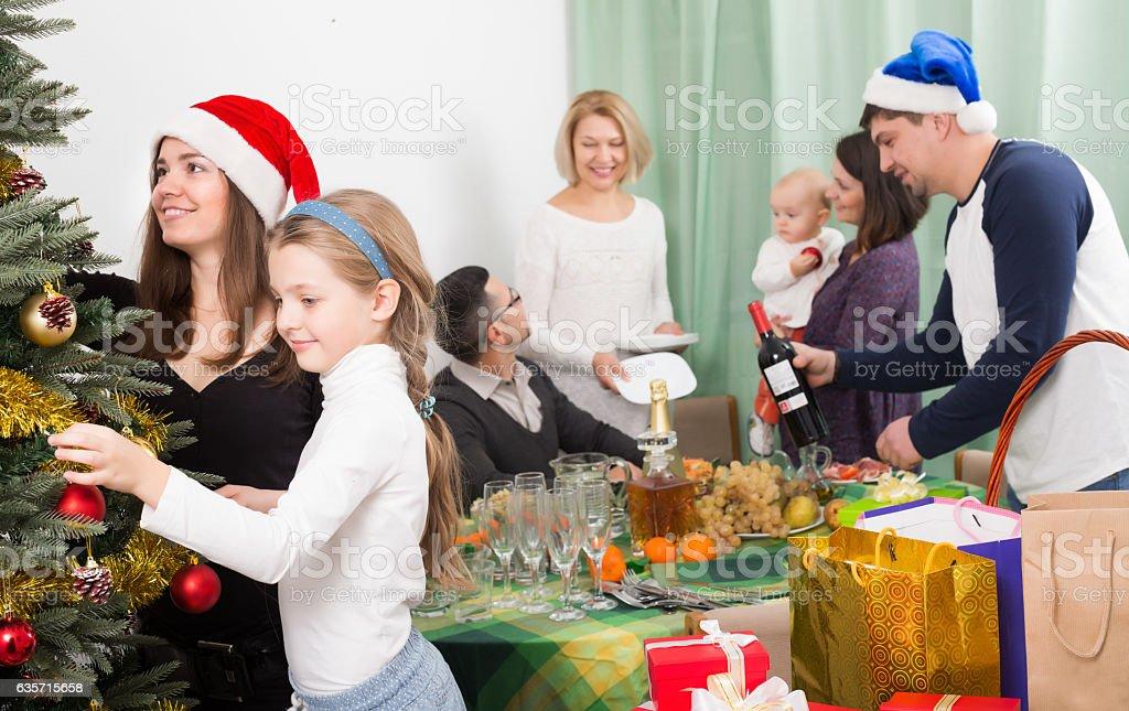 Big family preparing for Christmas royalty-free stock photo