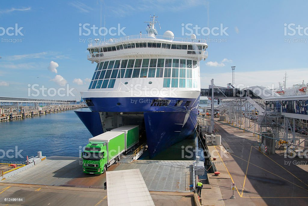 Big ferry at port, for transportation stock photo