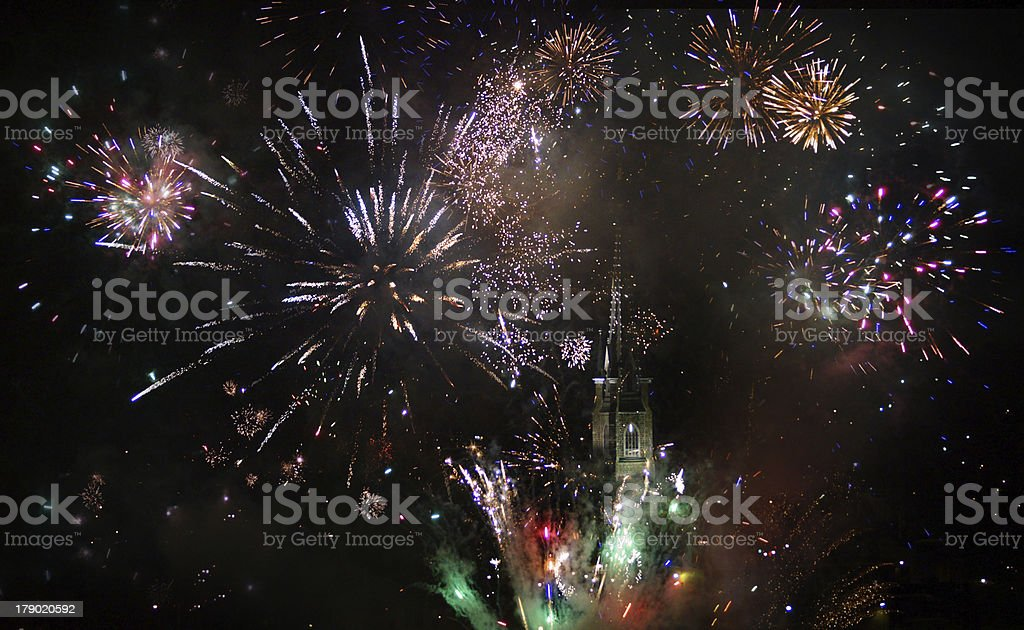 Big fireworks and church background royalty-free stock photo