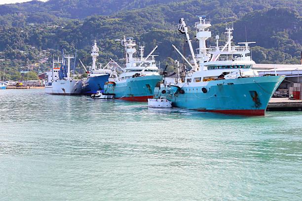 Big fishing boats stock photo