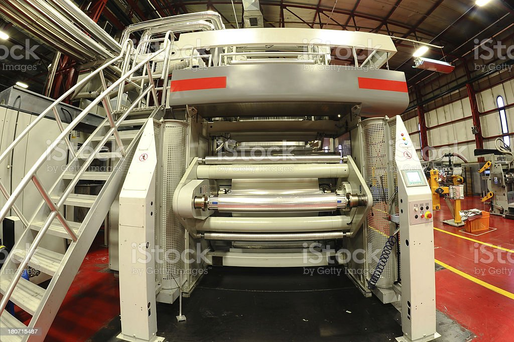 Big foil stamping machine stock photo