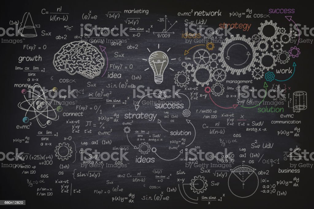 Big formula on blackboard stock photo