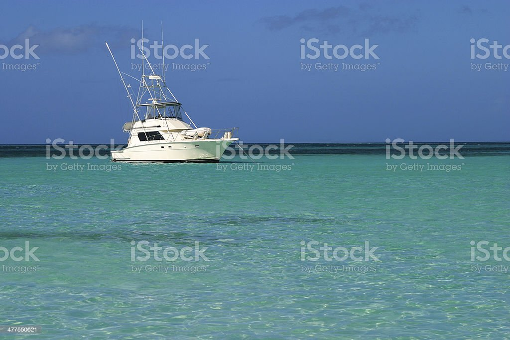 Big game fishing boat, Caribbean Sea. stock photo