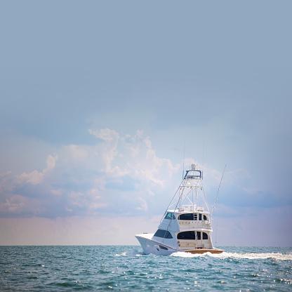 Big game fishing boat leaving Coconut grove marina Miami Florida