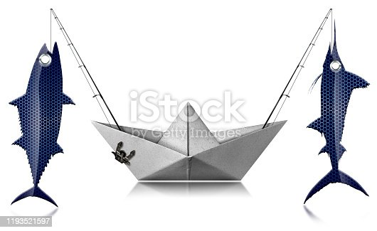 156872766 istock photo Big game fishing concept - Paper trolling boat with two fishing rods and caught fishes 1193521597