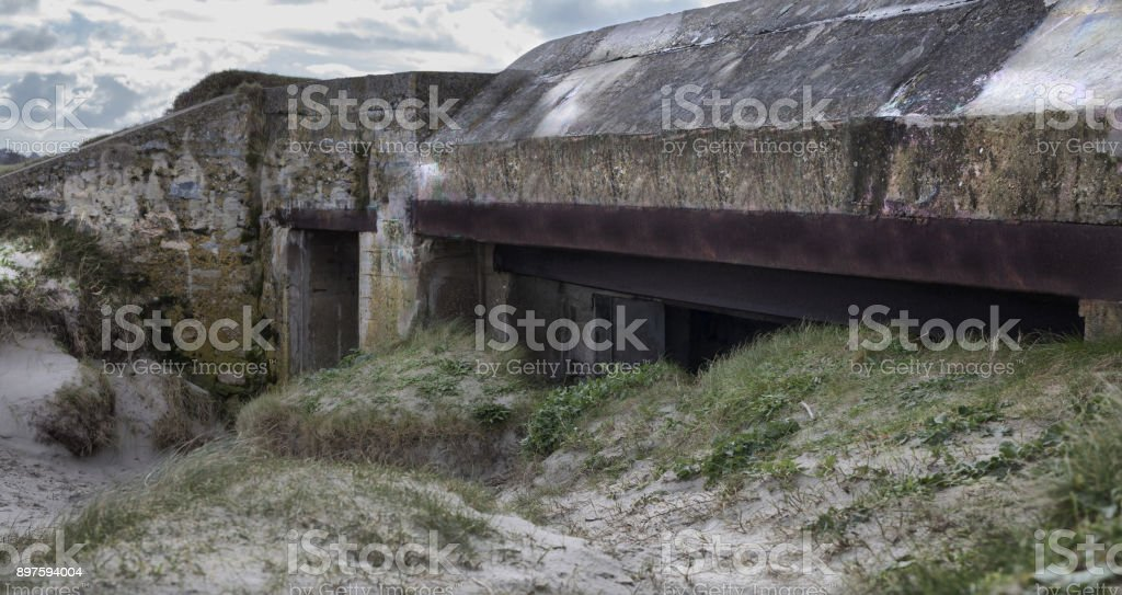 Big german bunker part of the Atlantic Wall, Brittany, France stock photo