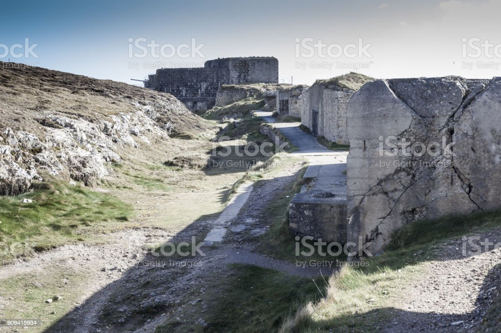 Big german bunker with gun part of the Atlantic Wall, Brittany, France. stock photo
