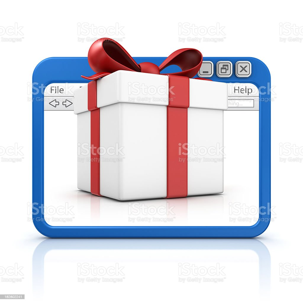 big gift in browser royalty-free stock photo