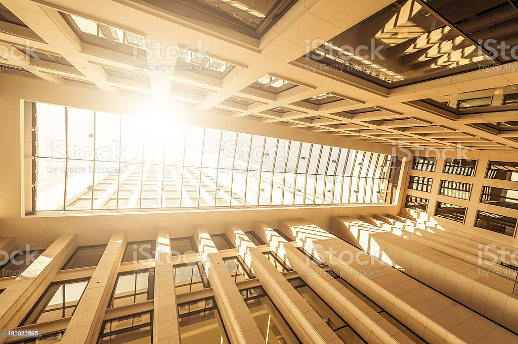 Big glass entrance hall from office building, backlit royalty-free stock photo