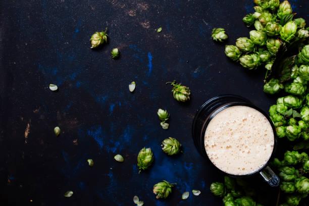 Big glass of foamy beer and hop cones stock photo
