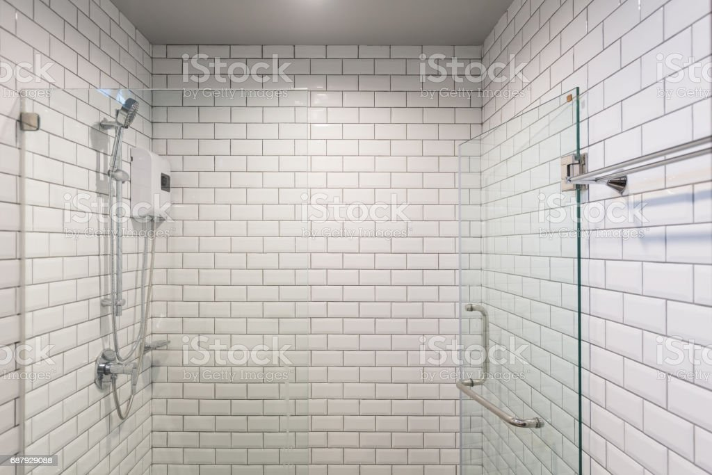 Big glass shower box - foto de acervo