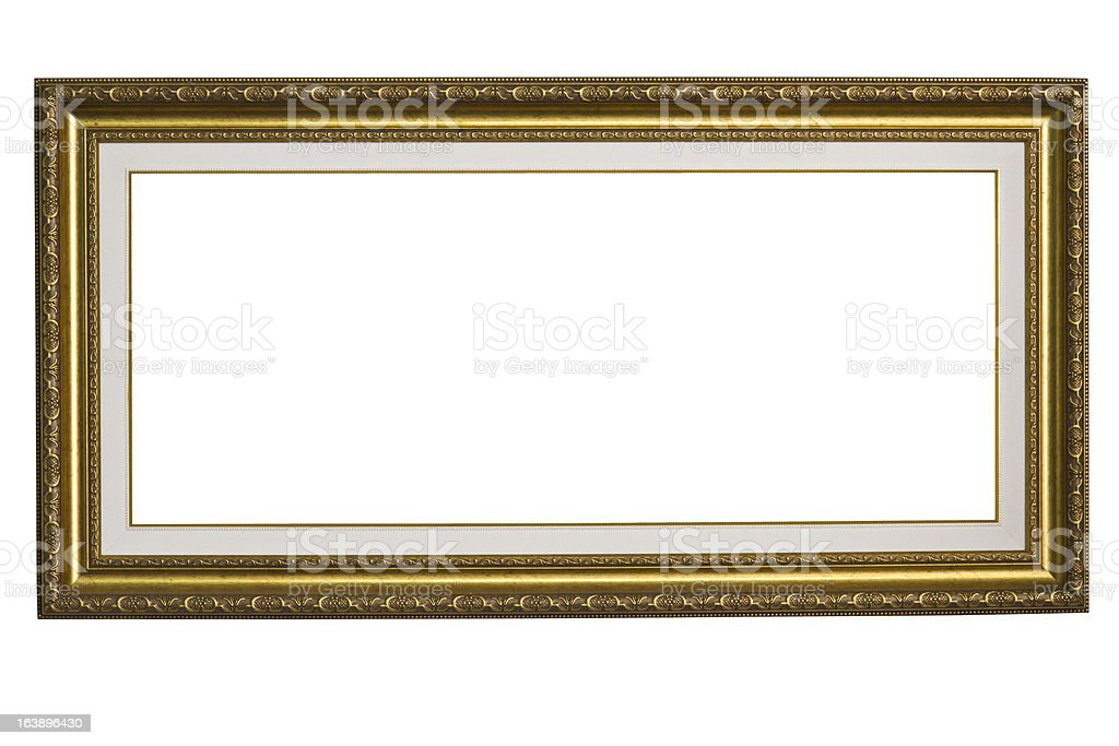 Big Gold Frame on white isolate royalty-free stock photo