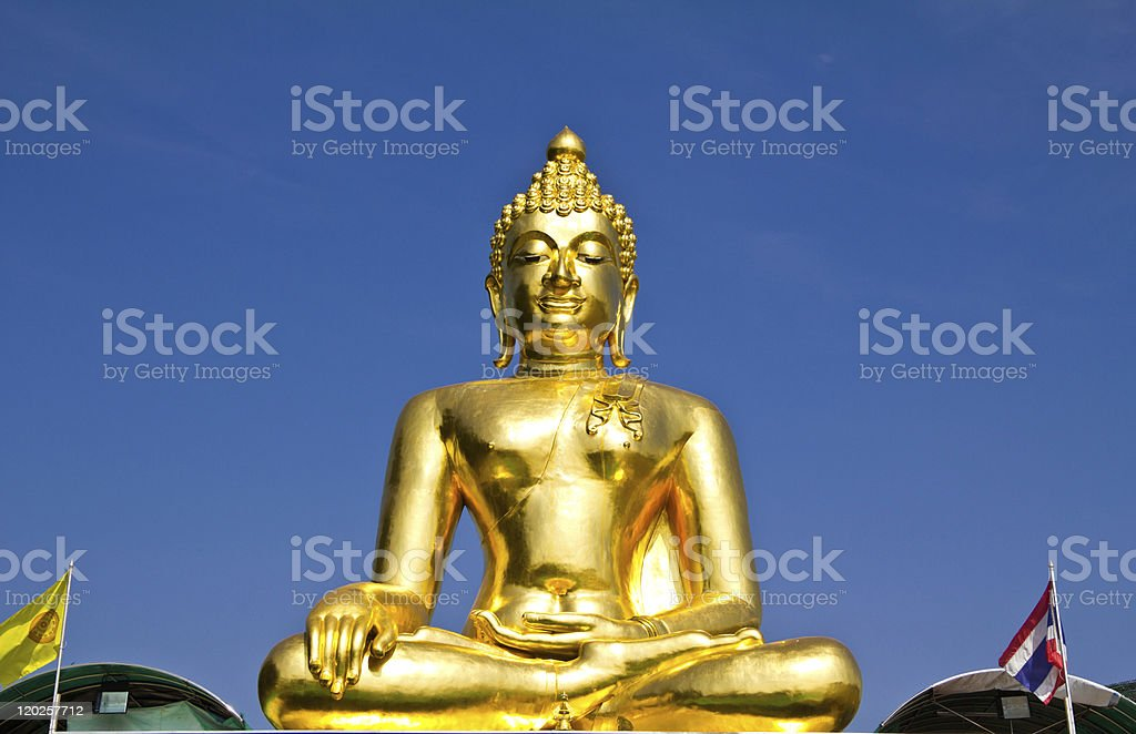 Big golden buddha in northern of thailand royalty-free stock photo
