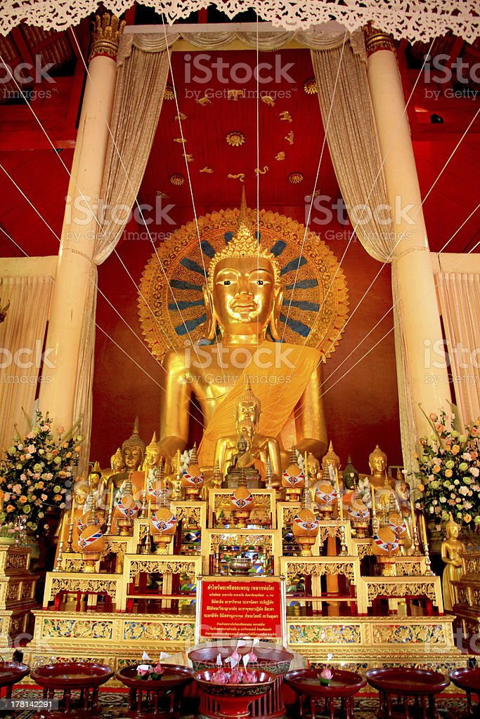 Big Golden Buddha in Temple royalty-free stock photo