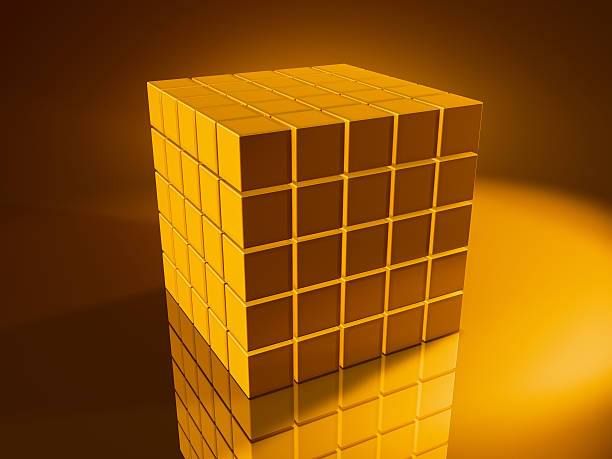 Big Golden Cube Stack 3D Render of a big cubical stack made from pixelated golden cubes. Very high resolution available! Use it for Your own composings!Related images: golden cube stock pictures, royalty-free photos & images