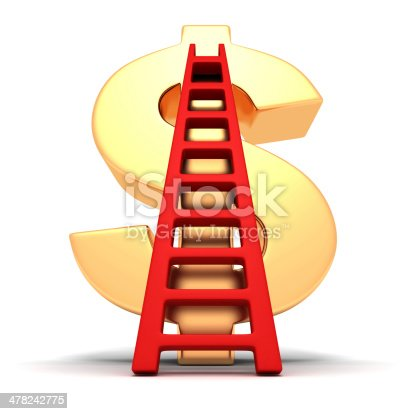 big golden dollar symbol and red success ladder. business finance concept 3d render illustration