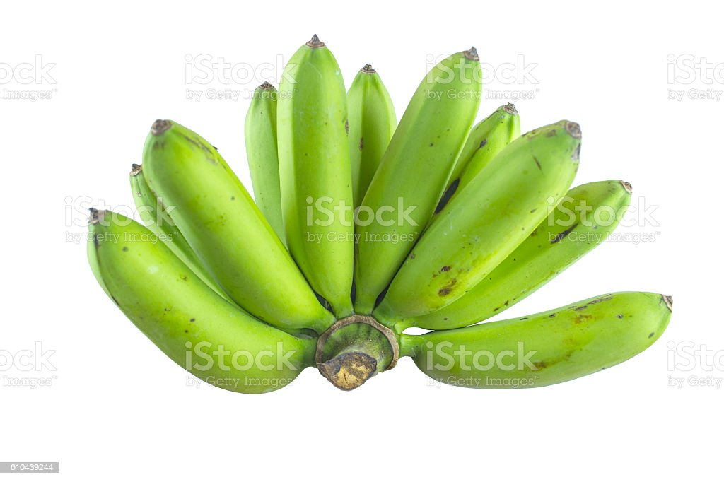 big green banana on white background. - foto de acervo