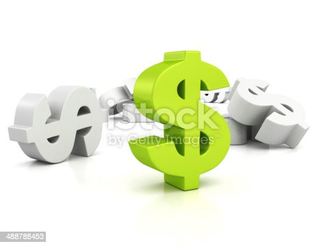 istock big green dollar currency symbol out from whites 488788453