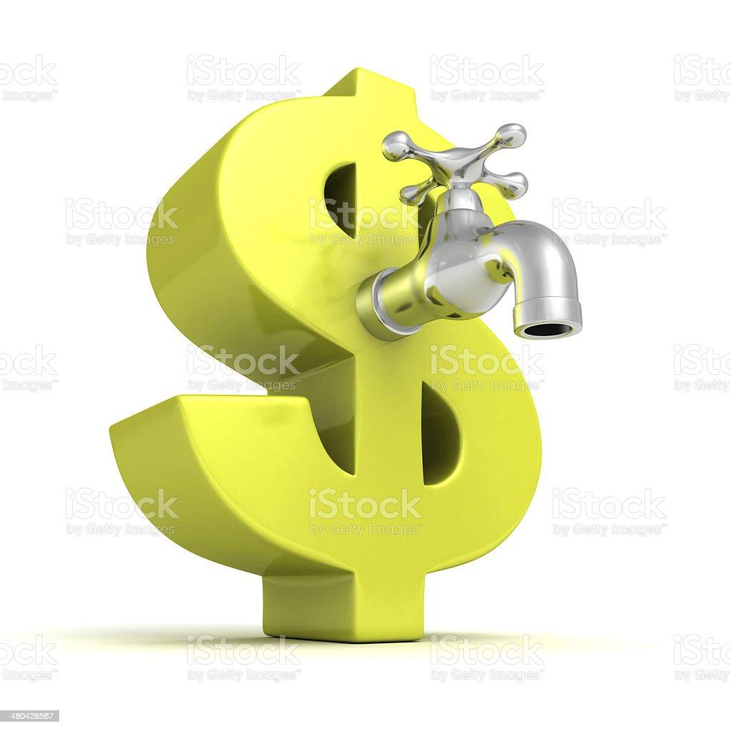 big green dollar symbol with metallic water tap faucet royalty-free stock photo
