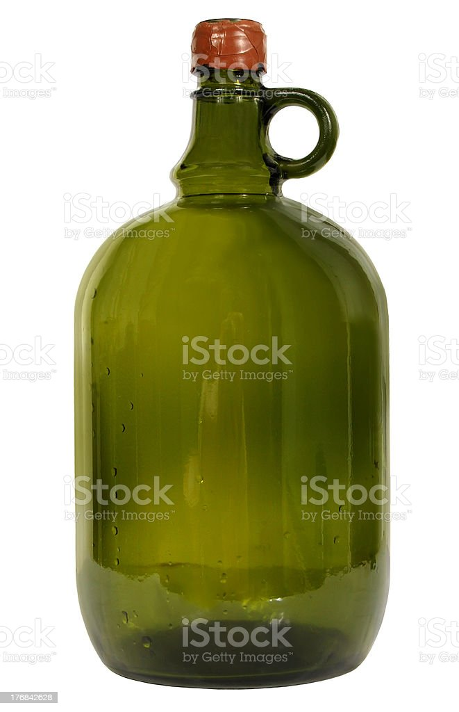 big green glass wine bottle on a white background stock photo