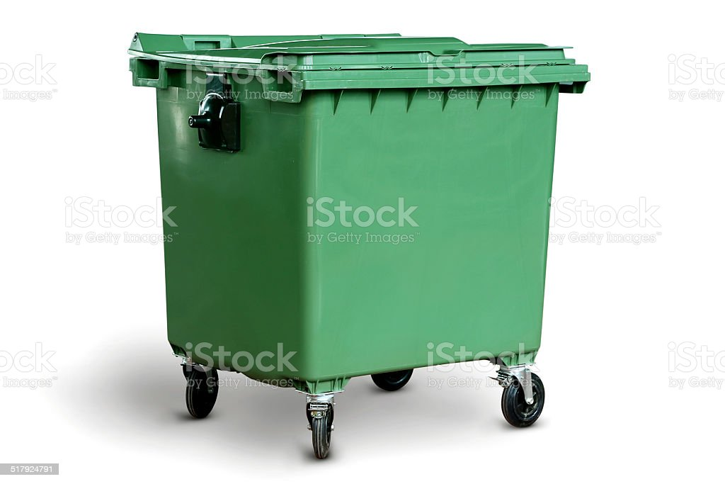Big Green recycling bin stock photo