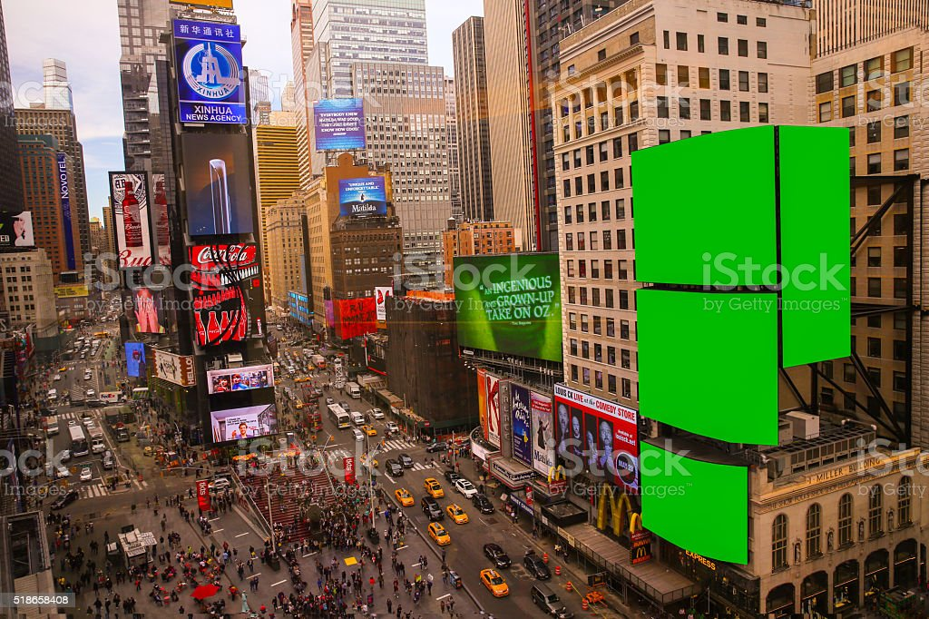 Big Green screen Chroma key in Time square NYC stock photo