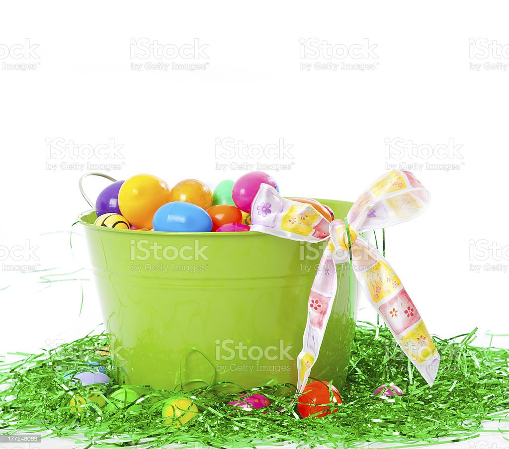 Big Green Tin Easter Basket stock photo