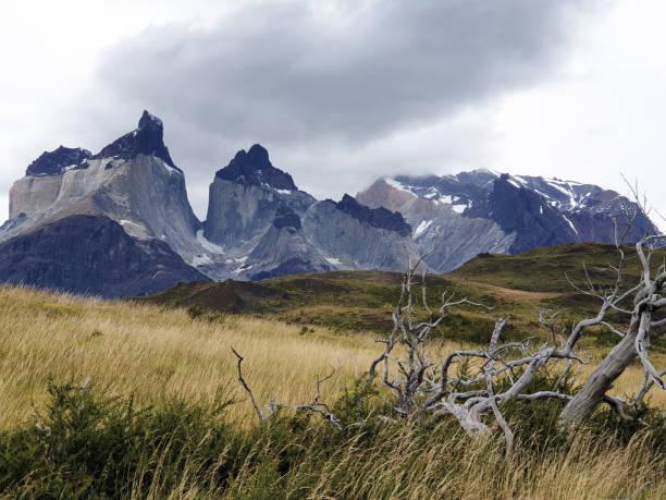 칠레, 파타고니아, 남미의 토레스 델 파이네 국립공원의 빅 그레이 산맥 스톡 사진