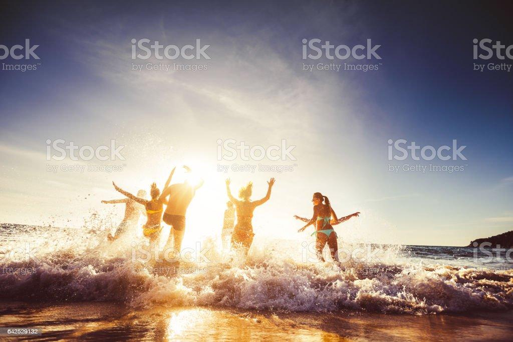 Amigos do grupo grande viagem praia do sol foto de stock royalty-free