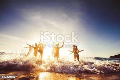 istock Big group friends sun beach travel 642529132