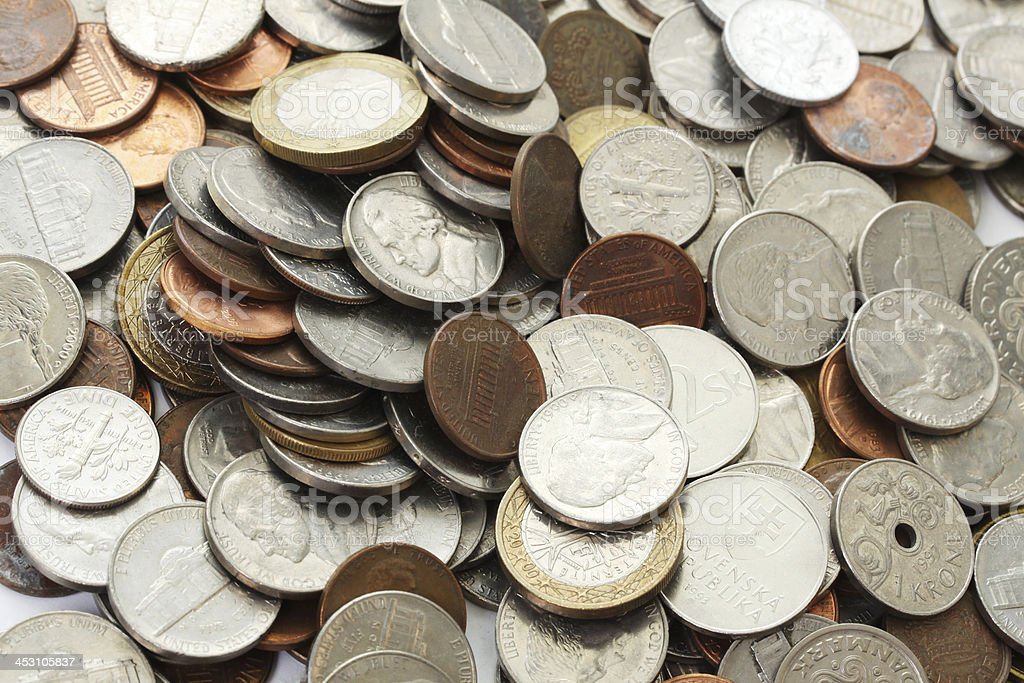 Big group of coins from all world stock photo