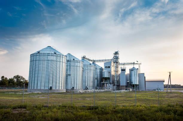 Grote groep van graan drogers complex voor het drogen van tarwe. Moderne graan silo. Landbouw concept foto