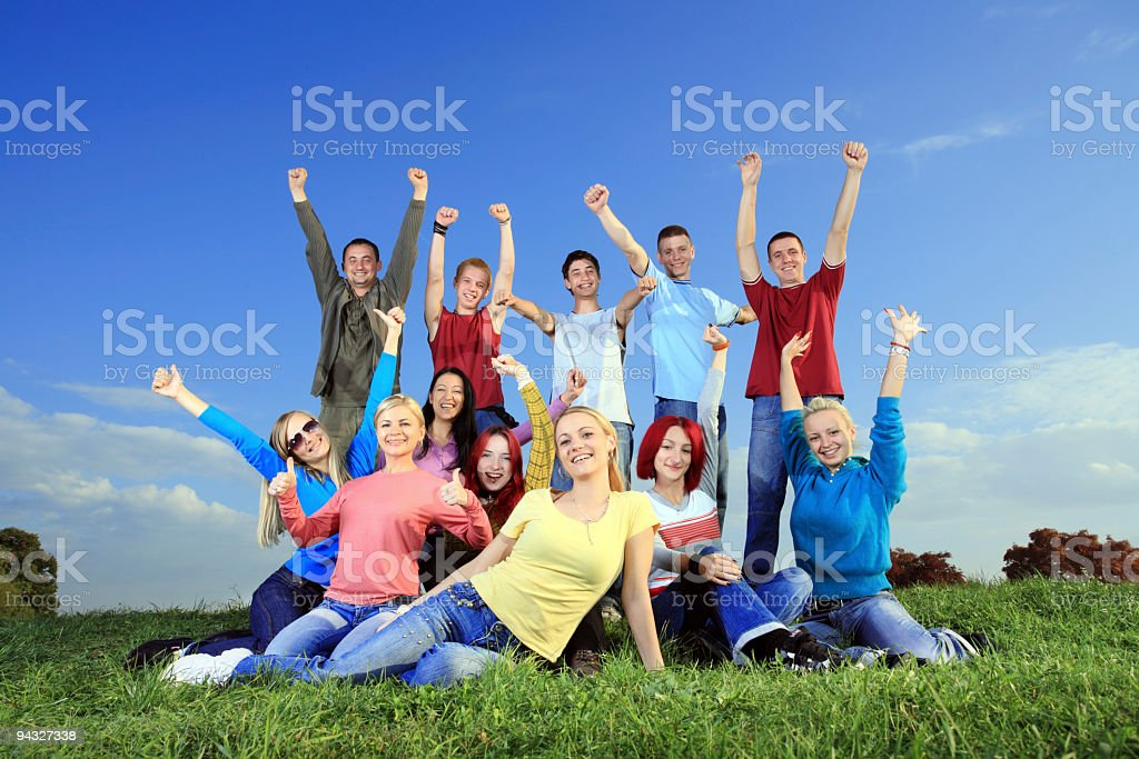 Big group of happy people funning outdoor. royalty-free stock photo