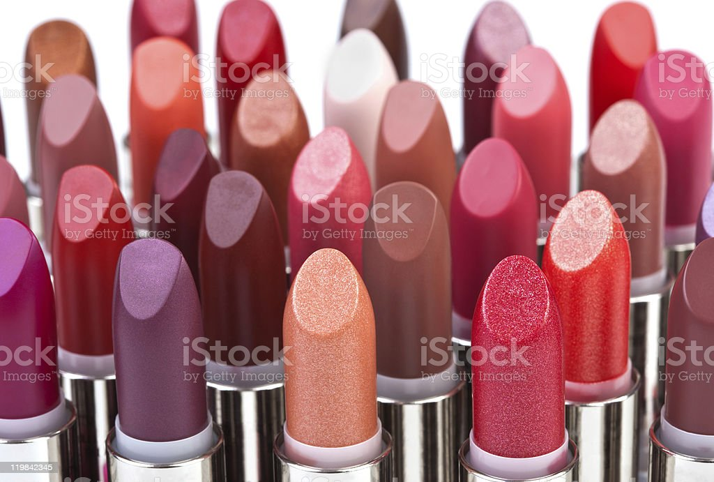 Big group of lipsticks stock photo