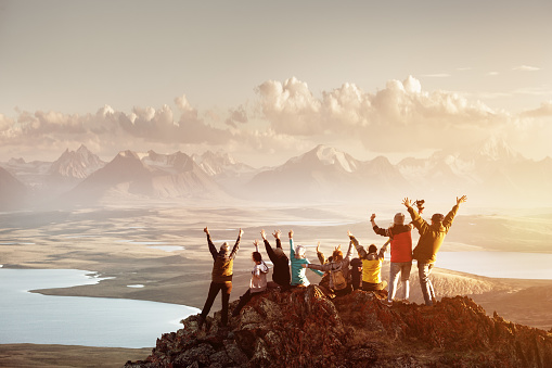 istock Big group of people success mountain top 941491560