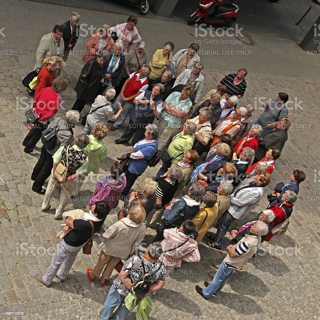 Big group of senior women on sightseeing in Berlin stock photo