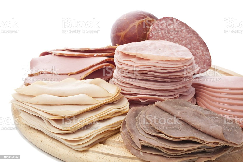 big group of sliced  meat delicatessen royalty-free stock photo