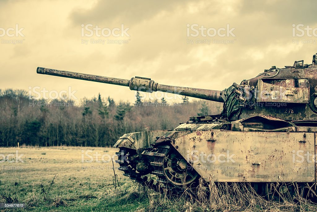 Big gun on a tank stock photo